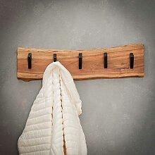 Baumkanten Garderobenleiste aus Akazie Massivholz