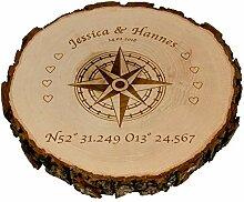 Baumscheibe - Kompass mit Personalisierung
