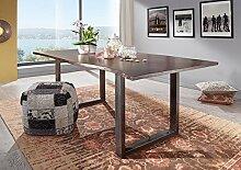 Baumtisch Akazie lackiert 180x90x76 braun Beine natur FREEFORM 3 Metall