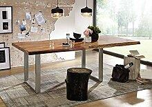 Baumtisch mit Ansteckplatte Akazie 180x100x76 walnuss lackiert FREEFORM 2 #23