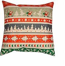 Baumwoll-Leinen, gestreift, 46 x 46 cm Kissen, Motiv Weihnachten, Silvester Dekoration