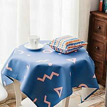 Baumwoll leinen rechteckig runder tisch tuch Tischtuch Wasserdichte tv-schrank tischtuch Dining schreibtischunterlagen-D 140x230cm(55x91inch)