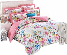 Baumwoll Satin Jacquard Spitze Vier-Bett Bettwäsche , Pink , 1.8M (6 Ft) Bed,pink,1.8m (6 ft) bed