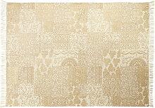 Baumwoll-Teppich in Ecru und Gold 140x200