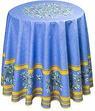 Baumwoll-Tischdecke rund ca. 180 cm Maussane bleu,
