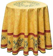 Baumwoll-Tischdecke rund ca. 180 cm Maussane jaune