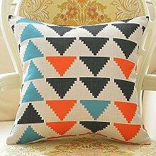 Baumwoll- Und Leinenkissen Geometrische Kissen Baumwoll- Und Leinen-sofa-kissen-A 55x55cm(22x22inch)VersionB