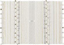 Baumwolldecke, ecrufarben mit Grafikmuster, 120x180