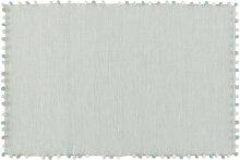 Baumwolldecke mit Quasten, grün 120x180