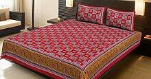 Baumwolle bedruckte Doppelbett Rote Elefanten Bettlaken Kissenbezug Set Bettlaken Set By Stylo Culture