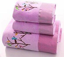 Baumwolle bestickt 3 Stück Handtuch Set für