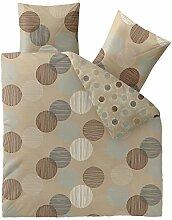 Baumwolle Bettwäsche 200x220, mit Reißverschluß atmungsaktiv waschbar Bettwäsche Set mit 80x80 Kissen,Öko-Tex aqua-textil Bettwäschengarnitur Bettbezug mit Kopfkissen Bezug, Trend Fara 0011828 natur beige blau braun