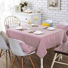 Baumwolle Einfache Gestreifte Tischdecke Handtuch Tischdecken,Pink-90*90CM