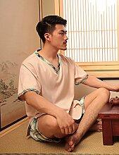 Baumwolle Einfache Männer Und Frauen Kurze Ärmel Superabsorbent Das Hotel Hat Bademäntel Schweiß Dampf Service Sauna Kleidung Schnell trocknend Handtücher Badetuch Pyjama Bademantel ( farbe : A , größe : L )