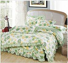 Baumwolle europäischen Stil Bett Rock Baumwollbettwäsche Bettdecke Quilt Cover Kissenbezug ( farbe : # 4 , größe : 2.2m Bed )