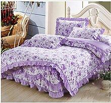 Baumwolle europäischen Stil Bett Rock Baumwollbettwäsche Bettdecke Quilt Cover Kissenbezug ( farbe : # 2 , größe : 1.8m Bed )