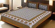 Baumwolle Gelb Kamel Floral Bettlaken Kissenbezüge Doppelbett Flaches Bettlaken Set By Stylo Culture