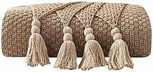 Baumwolle Gestrickte Überwurf Decke mit Fransen