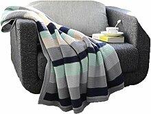 Baumwolle Grau Grün Blau Stricken Streifen Muster Einzel oder Doppel Einfache und moderne Heimtextilien Wolldecke 200 * 150cm