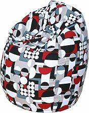 Baumwolle Jeansstoff Sitzsack - Motiv Sitzbirne - in 75 x 95 cm - schwarz - grau - weiss - ro