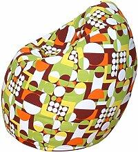 Baumwolle Jeansstoff Sitzsack - Motiv Sitzbirne - in 75 x 95 cm - grün - weiss - braun - gelb