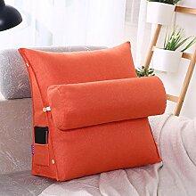 Baumwolle Kissen Sofakissen dreieckige Bürostuhl taille Nackenkissen Kissen Bett Schlafzimmer, 60 x 50 x 20 cm, orange