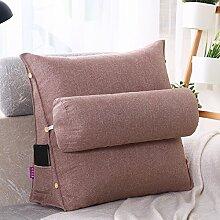Baumwolle Kissen Sofakissen dreieckige Bürostuhl taille Nackenkissen Kissen Bett Schlafzimmer, 60 x 50 x 20 cm, rote Bohnen paste