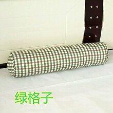 Baumwolle lange Kissen große zylindrische Bett schlafen Lenden Kissen Kissen Freund candy Kissen, 20 x 80 cm demontieren, Green Tartan