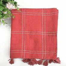 Baumwolle Leinen Temperament Quasten Schal Temperament Linie Lange Schal Sonnenschutz Schals , Wassermelonenro