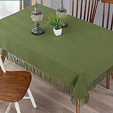 Baumwolle Leinen Tischdecke Mit Fransen Einfarbige