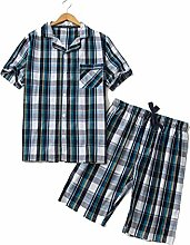 Baumwolle Männer Pyjamas Dünn Weich Frühling Sommer Gewebt Kurzarm Shorts Zuhause Stellen Sie ein , blue , L