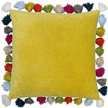 Baumwolle mit Ochre, Gelb-Orange tasselled 45,7cm–45cm, Kissenhülle