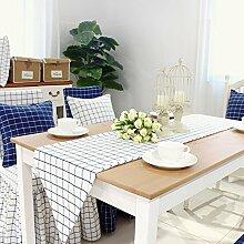 Baumwolle Stoff Tischläufer/Moderne Minimalistische Couchtisch Tisch Tischläufer/Pastorale American Style Tischläufer-D 30x220cm(12x87inch)