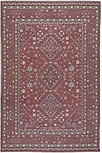 Baumwolle Teppich Cotton Classic - Farbe wählbar | schadstoffgeprüft pflegeleicht strapazierfähig | 100% Naturfaser | für Fußbodenheizung geeignet | für Wohnzimmer Schlafzimmer Gästezimmer Büro, Farbe:Rot, Größe:160 x 240 cm