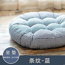 Baumwolle und Leinen streifen Kissen Stuhl Kissen Tatami Matten dicken warmen Kissen 55 x 10 cm, blau