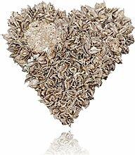 Baumwollfrucht Herz gewachst Dekoration, grau, 25 x 25 x 12 cm
