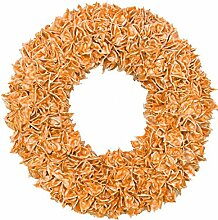 Baumwollfruchtkranz gewachst Dekoration, orange, 30 x 30 x 14 cm