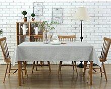 Baumwollleinen rechteckige wasserdicht Tischdecke/Tischtuch,Geeignet für Zuhause Küche,Restaurants,Hotels und im Freien,Multi-Größe Mehrfarbenauswahl (55x84 inch/ 135x213cm, grau)