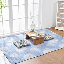 Baumwollmatten, Teppich rutschfest, Wohnzimmer Schlafzimmer Bett Matten, Tatami Matten, dünner Teppich , #2 , 90*120cm