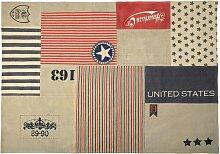 Baumwollteppich US Vintage in Patchwork-Optik, 140