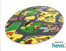 Baustelle gelb HEVO® Teppich | Spielteppich | Kinderteppich 125x195 cm Ellipse Oeko-Tex 100