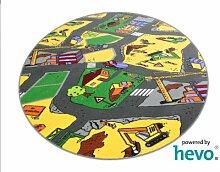 Baustelle gelb HEVO® Teppich | Spielteppich | Kinderteppich 200 cm Ø Rund Oeko-Tex 100