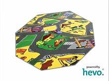 Baustelle gelb HEVO® Teppich | Spielteppich | Kinderteppich 200 cm Achteck Oeko-Tex 100