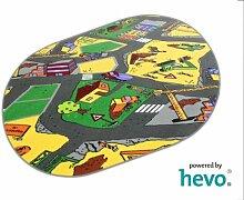 Baustelle gelb HEVO® Teppich | Spielteppich | Kinderteppich 200x280 cm Oval Oeko-Tex 100