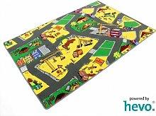 Baustelle gelb HEVO® Teppich | Spielteppich | Kinderteppich 200x280 cm Oeko-Tex 100