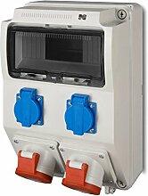 Baustromverteiler 16A Wandverteiler Steckdosenverteiler 2x230V + 2xCEE für 9 Module
