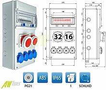 Baustromverteiler IP65 1 x CEE 32A 1 x CEE 16A 4 x 230 V + Sicherungen verdrahte