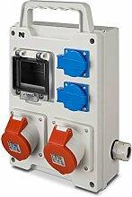 Baustromverteiler tragbarer Wandverteiler Steckdosenverteiler 2x230V + 2xCEE für 4 Module
