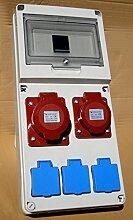 Baustromverteiler Wandverteiler Stromverteiler Verteilerkasten 3 x 16 A/250V + 1 x 16A/ 400 V+1 x 32A /400V + 6 Sicherungen IP 44
