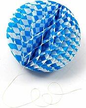 Bavariashop Bayerischer Wabenball, Ø 28 cm,blau weiß, Hochzeit, Party, Oktoberfest, Dekoration für den Biergarten